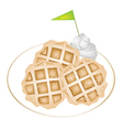 Three Baked Waffles with Icing and Whipped Cream vector image vector image