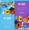 vet shop poster in cartoon style vector image