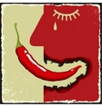 Vintage poster with chili pepper vector image vector image