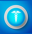 white caduceus medical symbol icon vector image vector image
