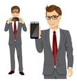 businessman displaying his smartphone vector image