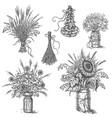 rustic bouquets set vector image