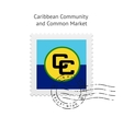 Caribbean Community and Common Market Flag Postage vector image