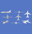 airplane flight aircraft plane in front side and vector image vector image
