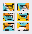 assorted pink orange and blue fall modern cards vector image vector image