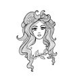Black and white outline girl for Your design vector image vector image