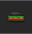 black hamburger food one burger with classic vector image