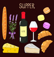 bright colorful set with french food supper set vector image
