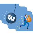 businessman running away from huge tax pendulum vector image vector image