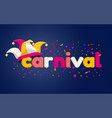 carnaval lettering with jester hat vector image