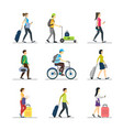 cartoon people traveling set vector image