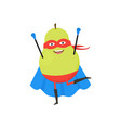 cartoon superhero character pear flat design vector image