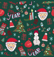 christmas pattern new year cute doodle seamless vector image