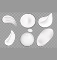 cosmetic cream smears realistic icon set vector image