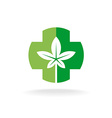 Cross and leaves logo Medical pharmacy symbol with