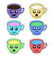 cup emoticons set with cheeks and eyes vector image