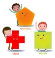 Cute little cartoon kids with basic shapes square vector image