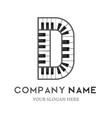 d letter logo design piano keyboard logo vector image