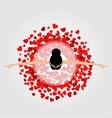 dancing ballerina wearing red heart dress vector image vector image