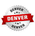 denver round silver badge with red ribbon vector image vector image