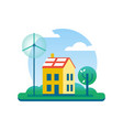 ecology house with green energy windmill and tree vector image