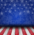 Empty wooden deck table over USA flag background vector image vector image