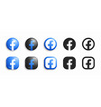 facebook modern 3d and flat icons set vector image