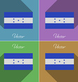 Flags Honduras Set of colors flat design and long vector image