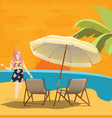 girl woman in beach seaside waiting for sunset vector image vector image