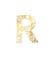 golden ornamental alphabet letter r font vector image vector image