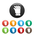 hand icons set color vector image