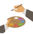 Hands Holding Paint And Brush vector image vector image