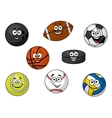 Happy sporting balls and equipment vector image vector image