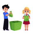 kids children throw plastic bottles in trash vector image vector image
