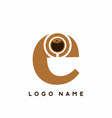 lowercase e initial letter with coffee symbol vector image