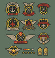 military army badges patches soldier chevrons vector image vector image