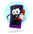 mobile emoji talking on phone on white vector image vector image