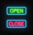 neon green open and red close glowing signs in vector image