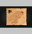 pirate cartoon vintage paper treasure map with a vector image