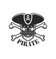 pirate skull with crossbones design elements vector image
