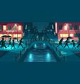 rainy weather in night city cartoon vector image vector image
