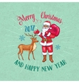 Retro Christmas poster with Santa Claus and Deer vector image vector image