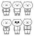 set cat wearing cloth vector image vector image