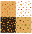set seamless patterns autumn forest leaves vector image vector image
