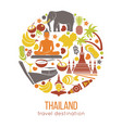 set thailand travel symbols and bangkok vector image