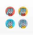 snow leopard mascot set template vector image