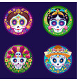 sugar skulls flat set vector image