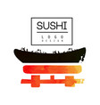 sushi logo design japanese food label watercolor vector image vector image