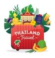 Thailand Travel Flat Symbols Composition Poster vector image