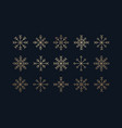 this is a set golden icons snowflakes vector image